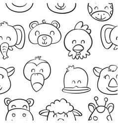 Collection cute animal doodle style vector