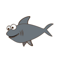 color silhouette of big gray shark vector image