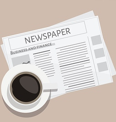 Cup of coffee and newspaper vector image
