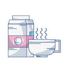 delicious coffee cup with milk box vector image