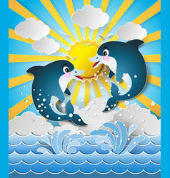 Dolphins in sea on the sunset vector