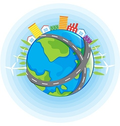 Earth theme with buildings on earth vector image vector image