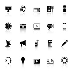 Electronic icons with reflect on white background vector image vector image