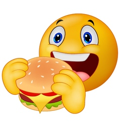 Emoticon smiley eating hamburger vector image vector image
