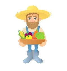 Farmer with vegetables icon flat style vector