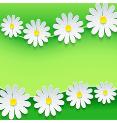 Floral frame with 3d chamomile flower vector image