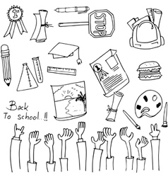 Hand draw school collection doodles vector