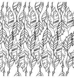 Hand drawn seamless pattern with feathers vector image vector image
