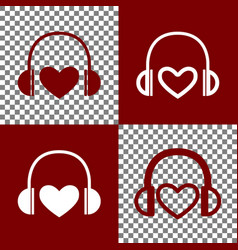 Headphones with heart bordo and white vector