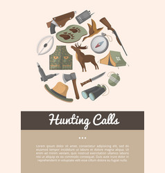 Hunting shop advertising poster in flat style vector