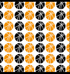 Pattern with colorful and monochrome basketball vector