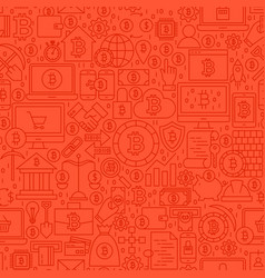 Red line bitcoin seamless pattern vector