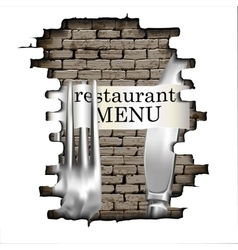restaurant menu knife and fork for the failure of vector image vector image
