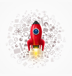 rocket with icons on the background vector image vector image