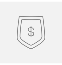 Shield with dollar symbol line icon vector image