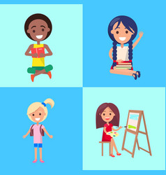 small students studing alone collection vector image