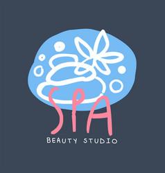 spa beauty studio logo badge for wellness yoga vector image vector image