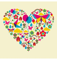 Spring time heart vector image vector image