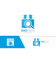 Store and loupe logo combination market vector