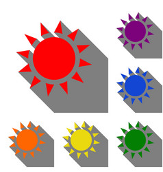 Sun sign set of red orange yellow vector