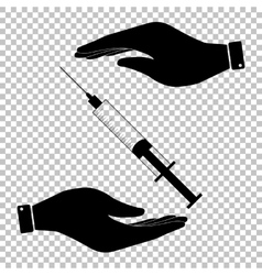 Syringe sign Flat style icon vector image