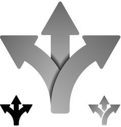 three way direction arrow symbol vector image