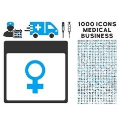 Venus female symbol calendar page icon with 1000 vector