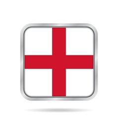 Flag of england shiny metallic gray square button vector