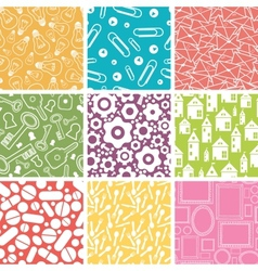 Set of nine household objects seamless patterns vector