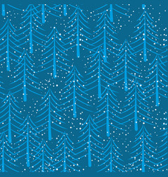 winter forest seamless pattern christmas trees vector image