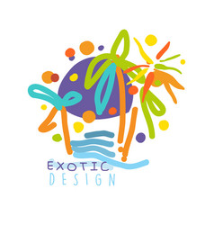 exotic logo design beach holidays colorful hand vector image