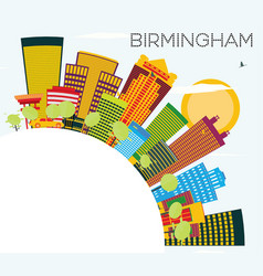 Birmingham skyline with color buildings blue sky vector