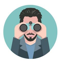 man looking through binoculars vector image