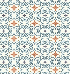 Retro swirl and flower pattern on pastel color vector