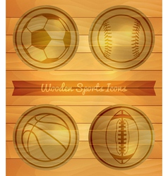 Wooden Sports Icons vector image