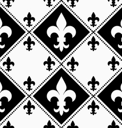 Black and white alternating fleur-de-lis with vector