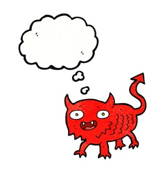 Cartoon little demon with thought bubble vector