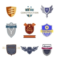 Set logo templates with a shield vector