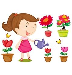 Little girl watering flowers vector image