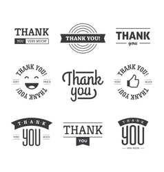 Black thank you labels and signs vector