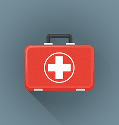 Flat red medical suitcase icon vector