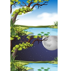 Nature scene at day and night vector
