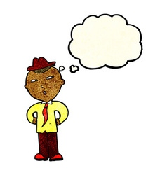 Cartoon man wearing hat with thought bubble vector