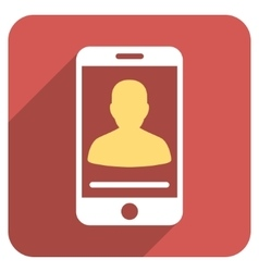 Mobile contact flat rounded square icon with long vector
