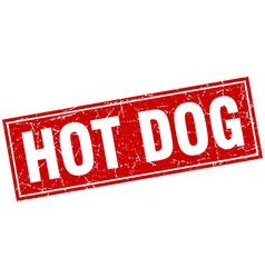 Hot dog red square grunge stamp on white vector