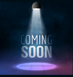 Coming soon illuminated with light projector blank vector