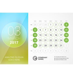 Desk calendar for 2017 year march design print vector