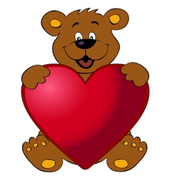 Happy bear with heart vector image