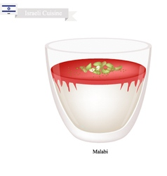 Malabi or israeli rose scented milk pudding vector
