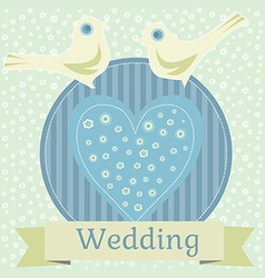 Wedding with love doves vector